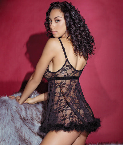 Night Before Xmas Fur Babydoll Set in Black