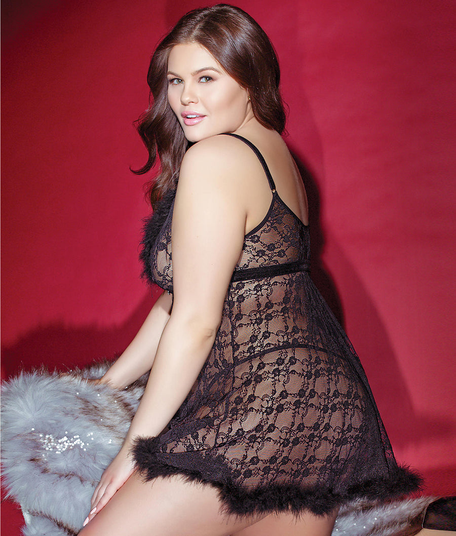 Black||Plus Size Night Before Xmas Fur Babydoll Set in Black