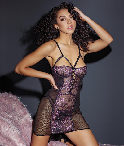 Secret Garden Cage Chemise in Lilac / Black