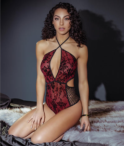 Smoldering Rose Halter Teddy in Black / Merlot Red