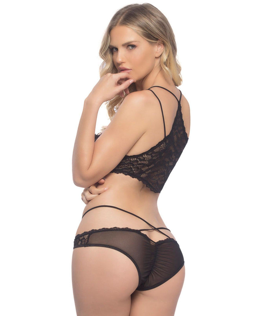 Black||Lace-Up Wire-Free Bra & Panty Set in Black