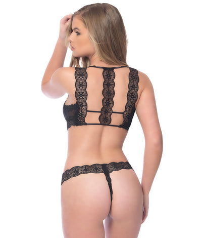 Horizon Geometric Bra & Panty Set in Black