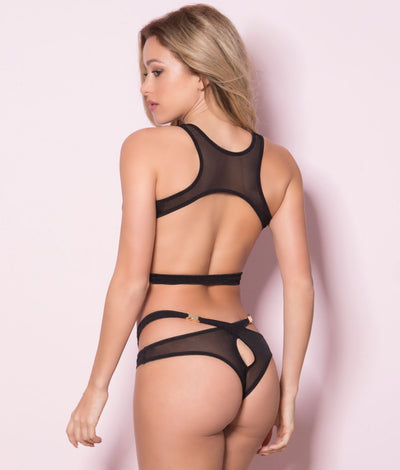 Mesh Buckle Bra & Panty Set in Black