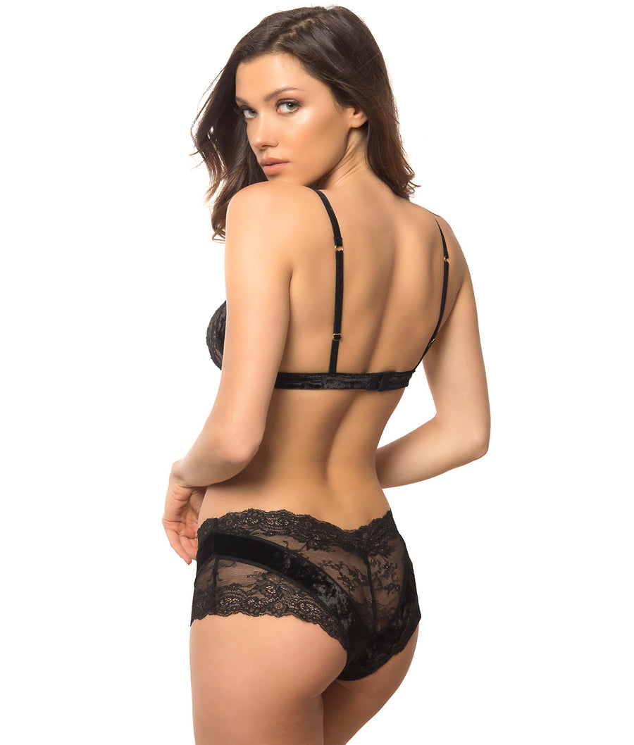 Black||Velvet & Lace Bra & Panty Set in Black