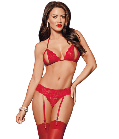 Peek-A-Boo Wireless Bra & Panty Garter Set in Red
