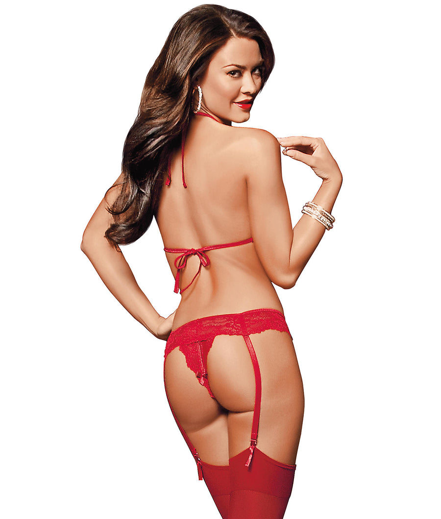 Red||Peek-A-Boo Wireless Bra & Panty Garter Set in Red