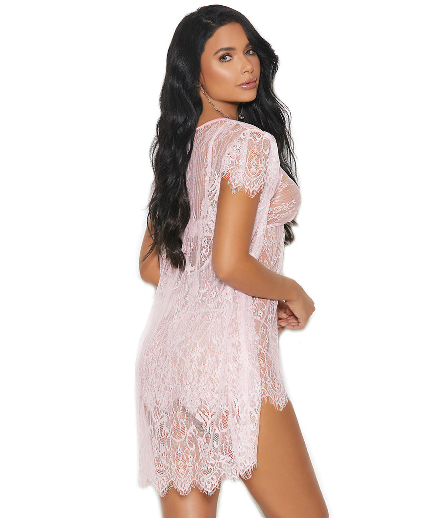 Baby Pink||Lace Chemise Set in Baby Pink