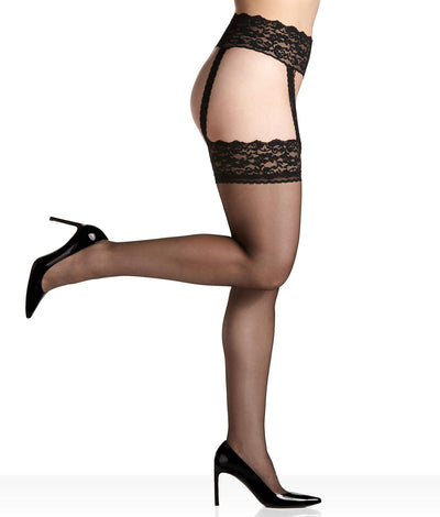 Sexy Hose Lace Waist Garter Stockings in Black