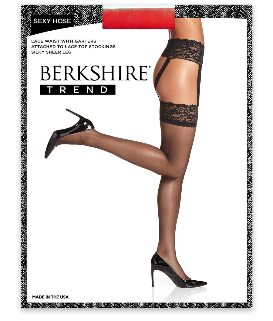 Black||Sexy Hose Lace Waist Garter Stockings in Black