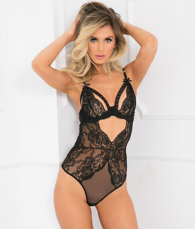 All Eyes On Me Bodysuit in Black