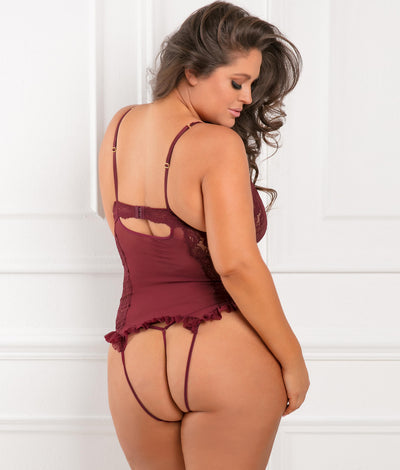 Plus Size Grand Finale Ruffle Teddy Set in Burgundy