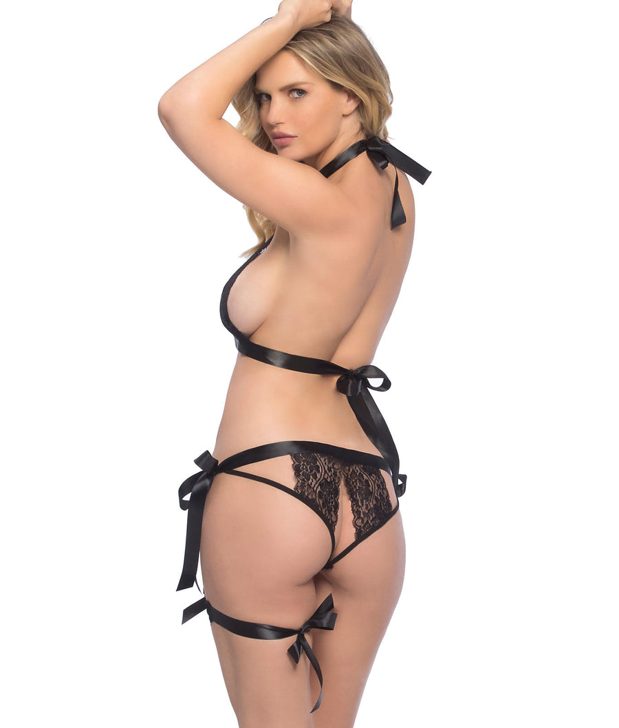 Black||Lace Halter Bra and Panty Set in Black