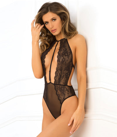Hot Pursuit Lace Teddy in Black