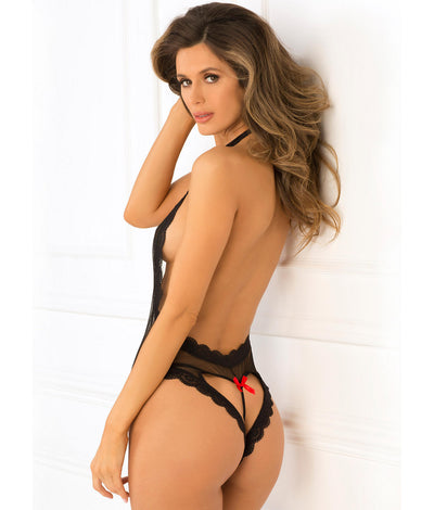 Open Back Lace and Net Teddy in Black