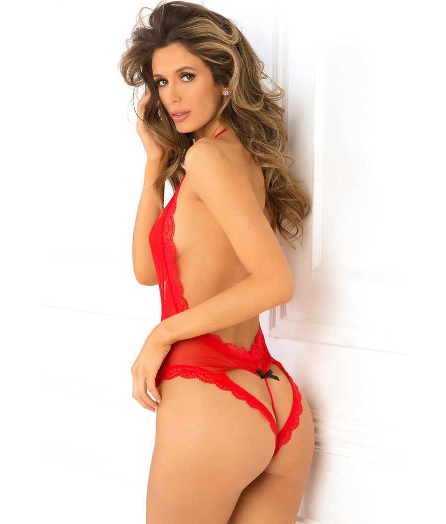 Red||Open Back Lace and Net Teddy in Red