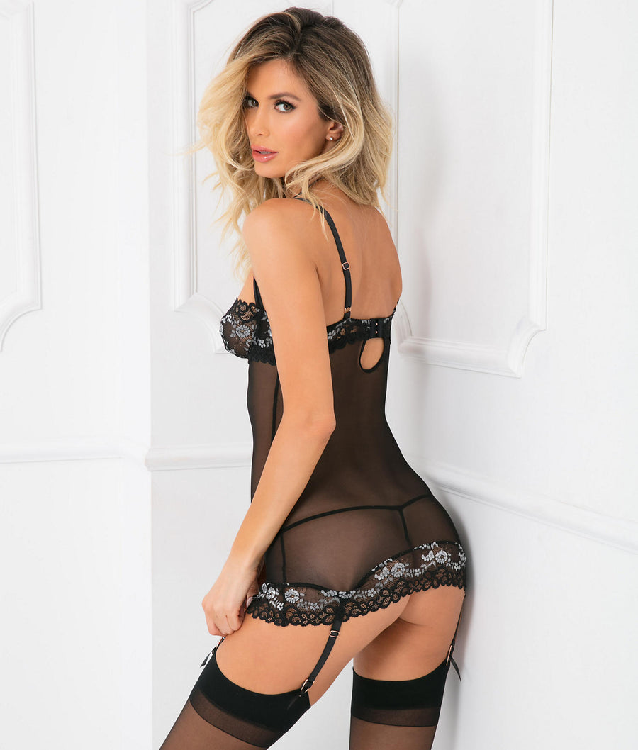 Without A Lace Chemise Garter Set