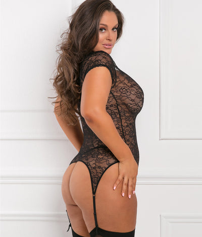 Plus Size Finest Of All Garter Chemise Set in Black