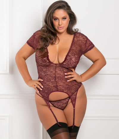 Plus Size Finest Of All Garter Chemise Set in Burgundy Red