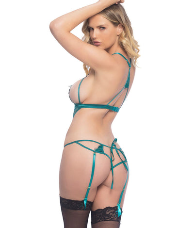 Eyelash Lace Wire-Free Teddy in Everglade Green