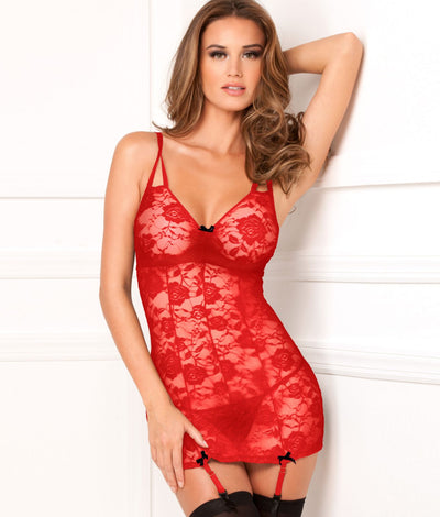 Floral Lace Garter Chemise Set in Red