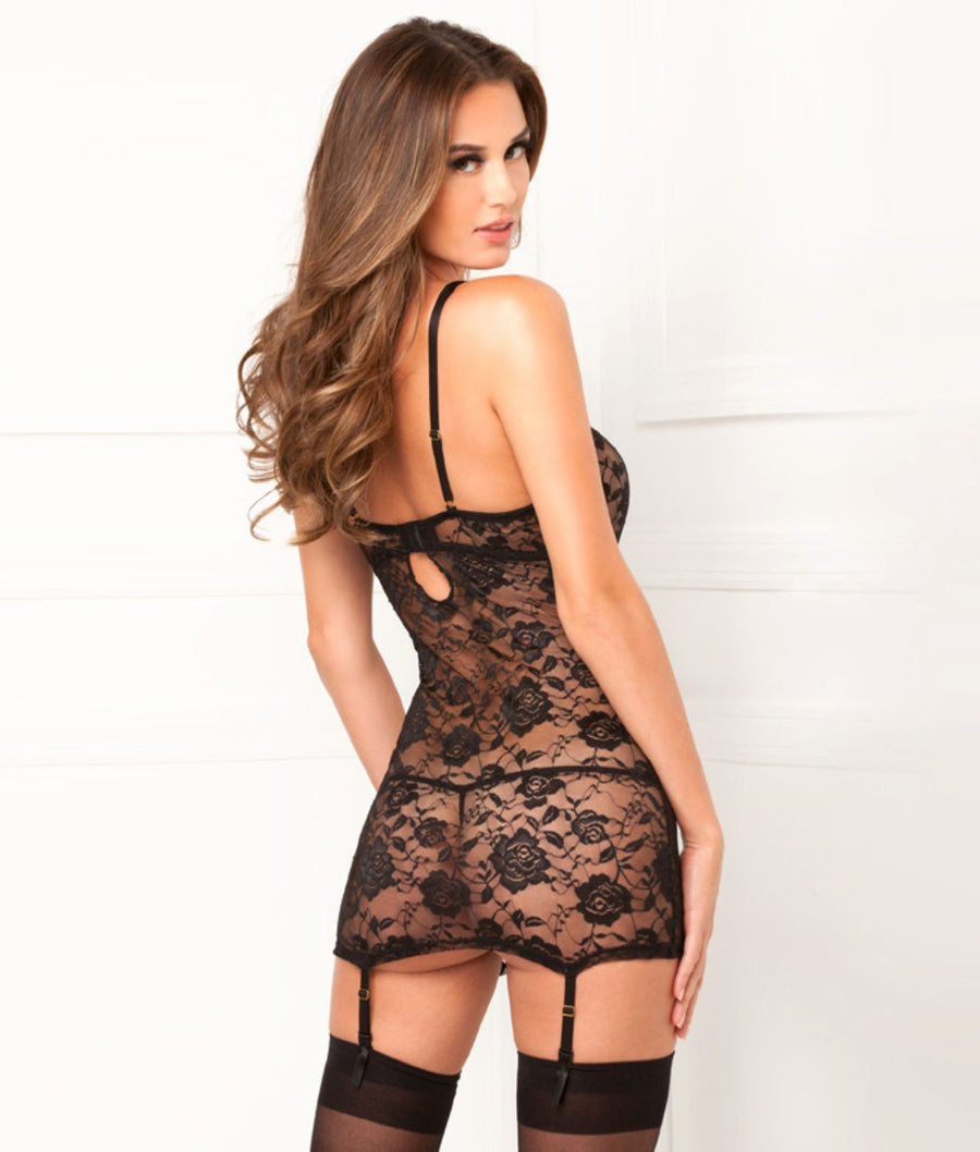 Black||Floral Lace Garter Chemise Set in Black