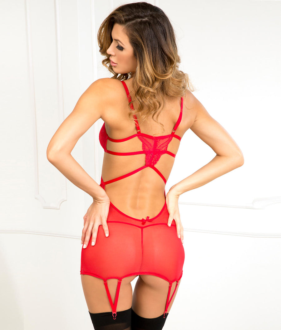 Red||Lace and Mesh Wireless Chemise Garter Set in Red