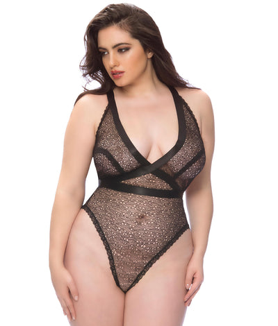 Plus Size Aubriana Wire-Free Teddy in Black
