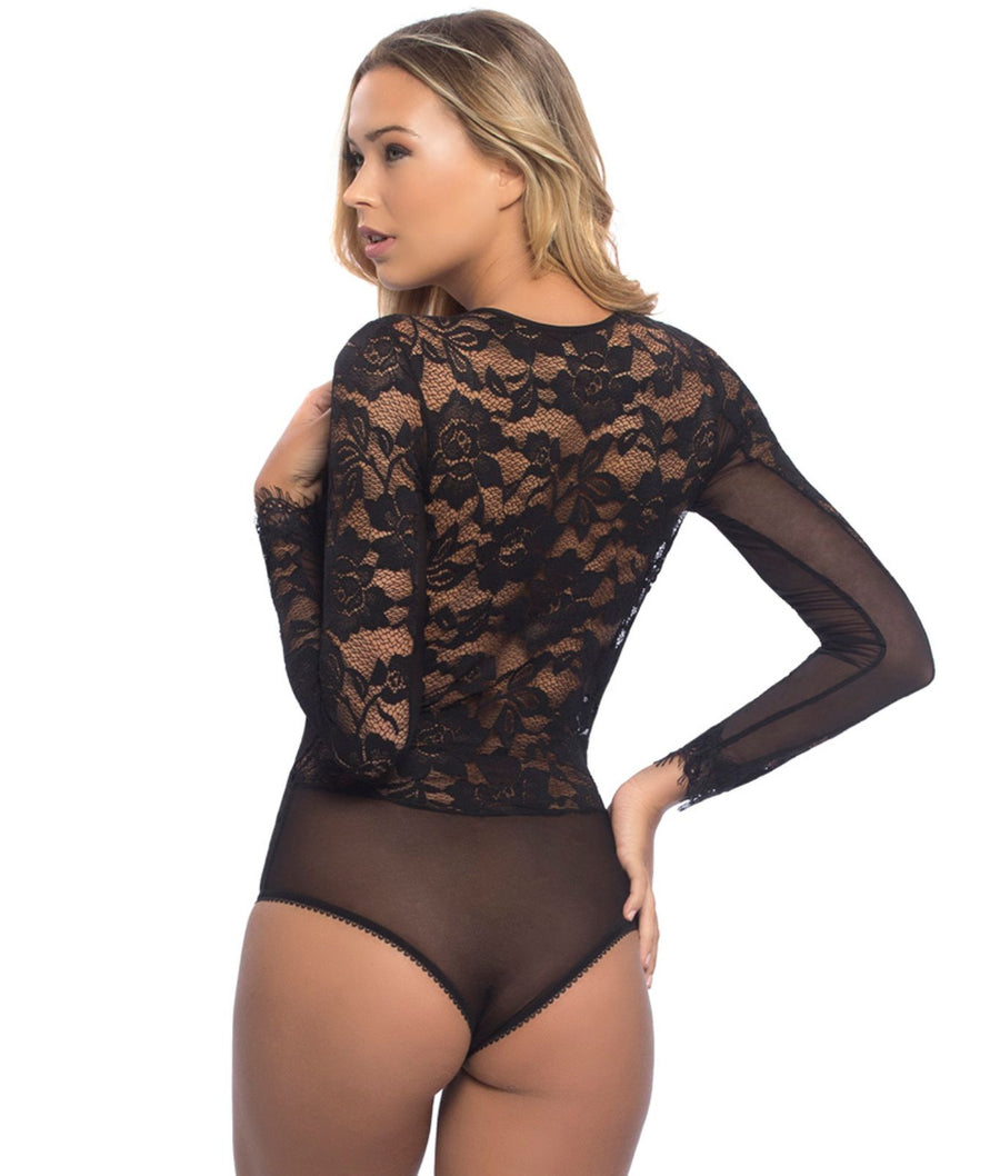 Black||Renata Eyelash Lace Plunge Bodysuit in Black