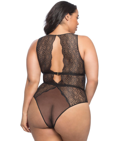 Plus Size Real Lingerie Lucette Lace Teddy in Black
