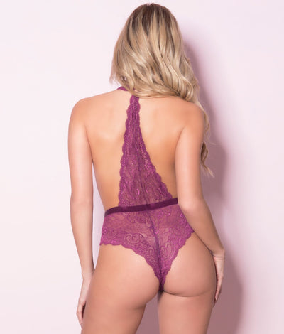 Plunging Lace Halter Teddy in Purple