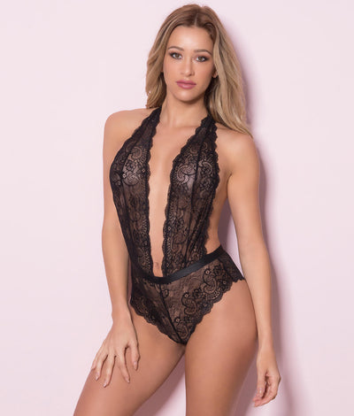 Plunging Lace Halter Teddy in Black