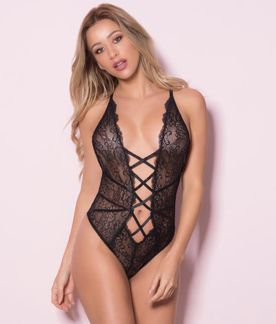 Lace-Up Sheer Teddy in Black
