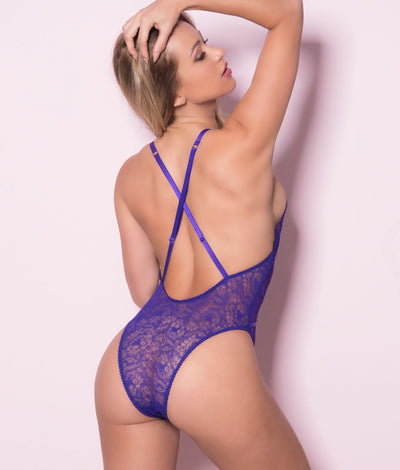 Lace-Up Sheer Teddy in Purple