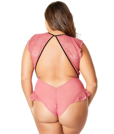 Plus Size Ruby Flutter Sleeve Teddy in Hollyberry Pink