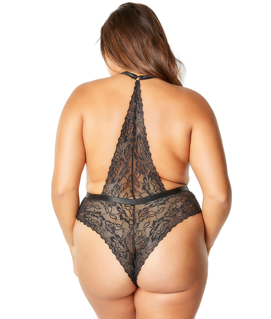 Black / Silver||Plus Size Lynette Metallic Plunge Teddy in Black / Silver