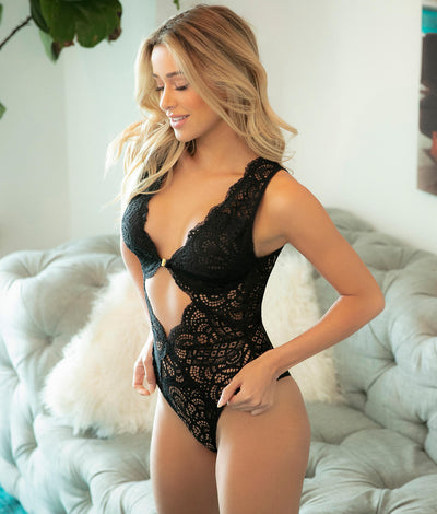 Real Lingerie Bohemian Lace Teddy in Black
