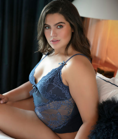 Plus Size Valentine Lace Teddy in Blue