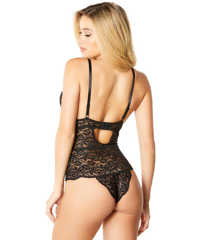 Lunette Galloon Lace Teddy in Black