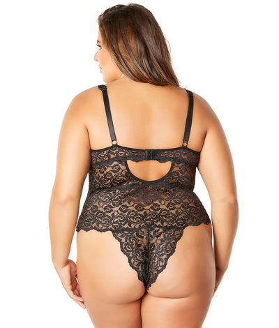Plus Size Lunette Galloon Lace Teddy in Black