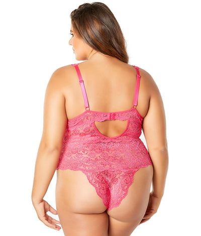 Plus Size Lunette Galloon Lace Teddy in Bright Rose
