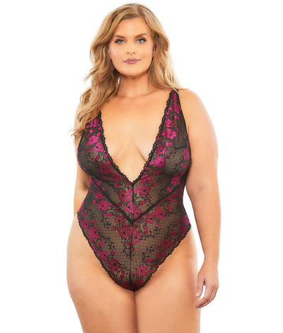 Plus Size Real Lingerie Lana Teddy in Red / Black