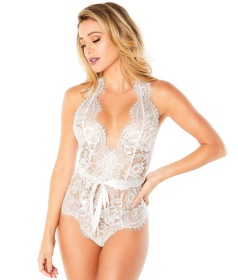 White||Naomi Lace Teddy in White