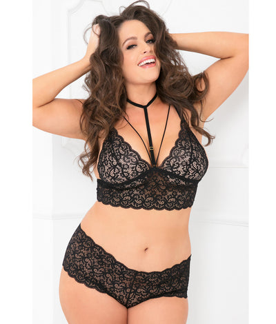 Plus Size Choker Bra & Crotchless Panty Set in Black
