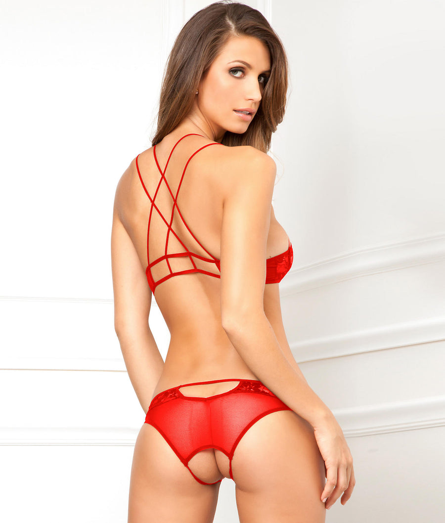 Red||Lace Wireless Bra & Panty Set in Red