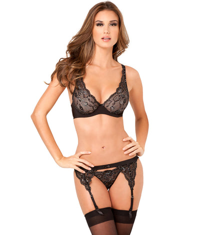 Lux Lace Lurex  Bra Set in Black