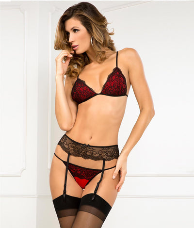 Crown Pleasure Bra & Garter Set in Red / Black