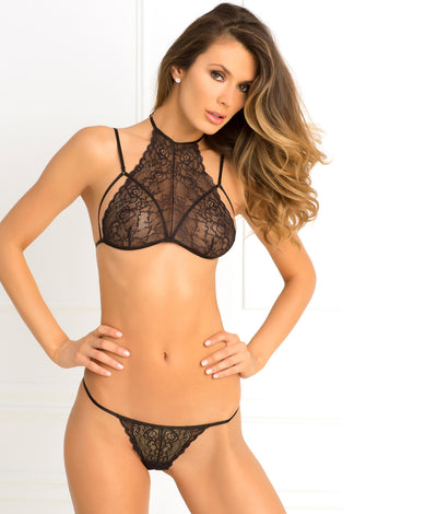 Most Wanted Wireless Lace Bra Set in Black