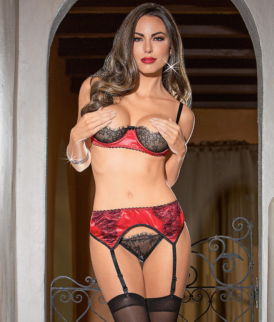Red / Black||Satin Bra & Garter Set in Red / Black