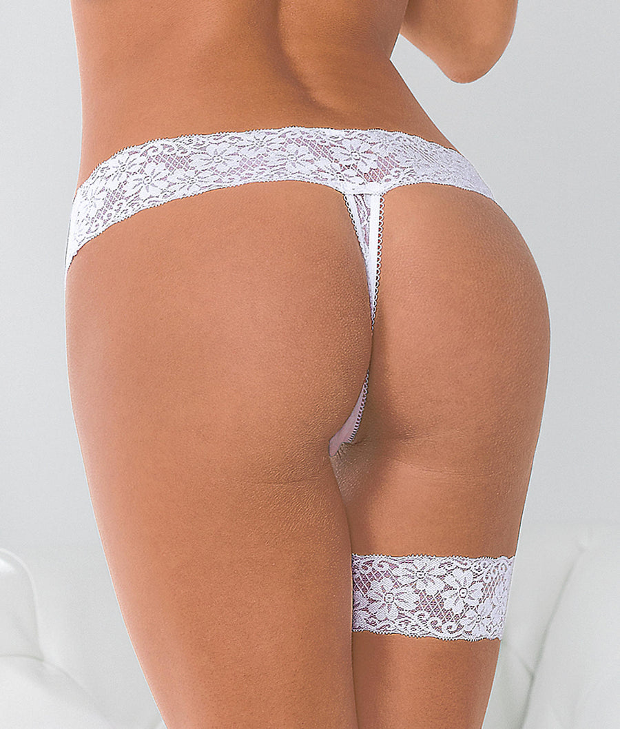 Plus Size Bridal Thong & Garter Set