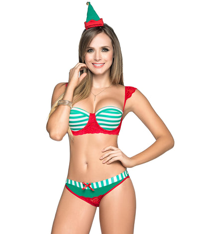 Santa's Sexy Elf Bra & Panty Set in Red / Green